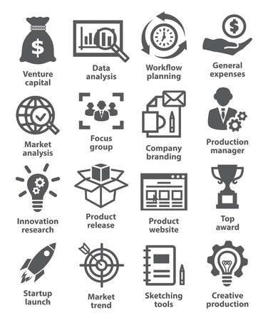 venture: Startup business and development icons on white