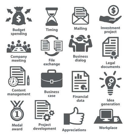 project planning: Business project planning icons on white
