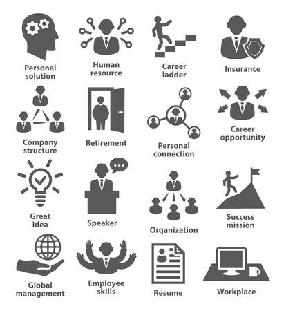 Iconos de la gente de administración de negocios en blanco