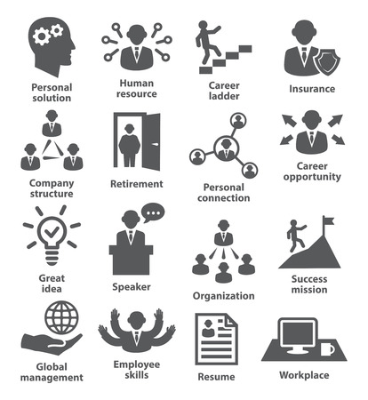 Business people management icons on white