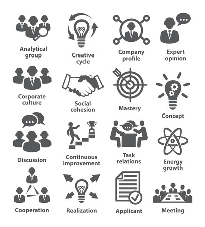 realization: Business management icons on white.
