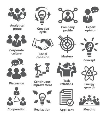 icônes de gestion d'affaires sur blanc.