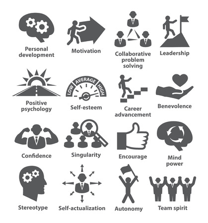 proficiency: Business management icons on white.