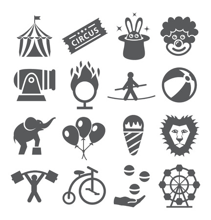 circus caravan: Gray Circus Icons on white background