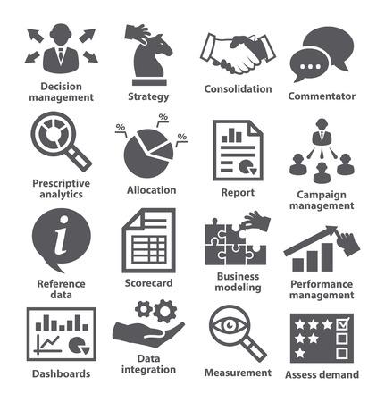 eficiencia: Iconos de la administración de negocios en blanco. Paquete de 18.