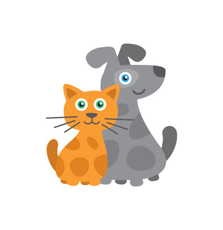 Cat and Dog Cute illustration