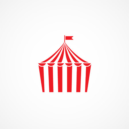 amusement park black and white: Red Circus icon on white background Illustration