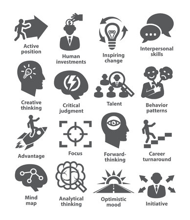 interpersonal: Business management icons on white. Pack 19.