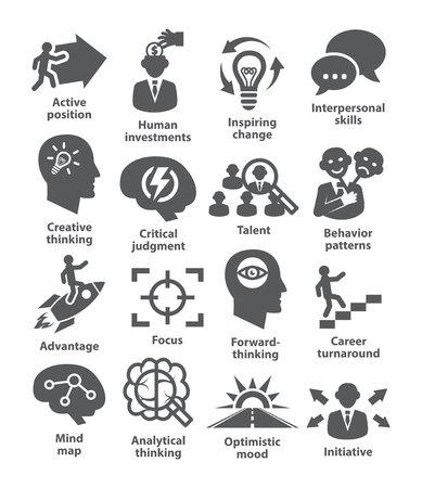 Iconos de la administración de negocios en blanco. Paquete de 19.
