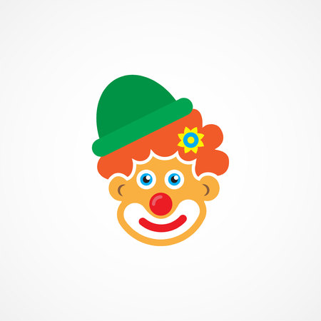 red hair: Clown icon on white background