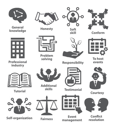 self development: Business management icons on white. Pack 22. Illustration