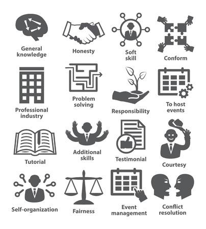gestion empresarial: Iconos de la administración de negocios en blanco. Paquete de 22. Vectores