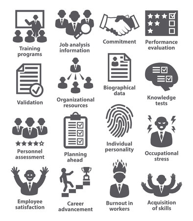 critique: Business management icons on white. Pack 23. Illustration