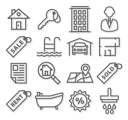 car for sale: Gray Real Estate Line Icons on white