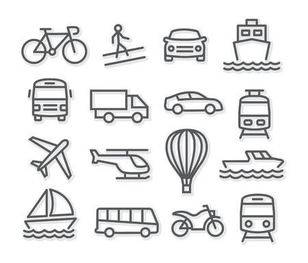 Iconos de la línea de transporte Ilustración de vector