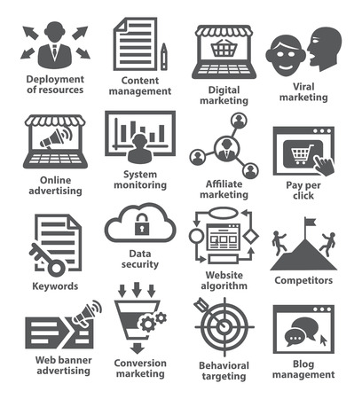 comprehension: Business management icons on white. Pack 24.