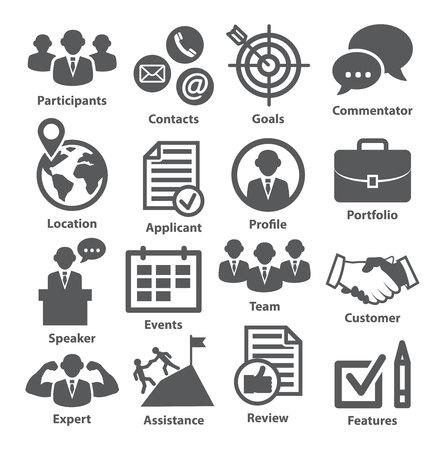 白のビジネス管理のアイコン。パック 25。  イラスト・ベクター素材