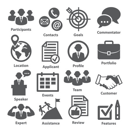 Business management icons on white. Pack 25.