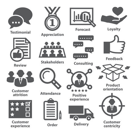 Business management icons on white. Pack 26.