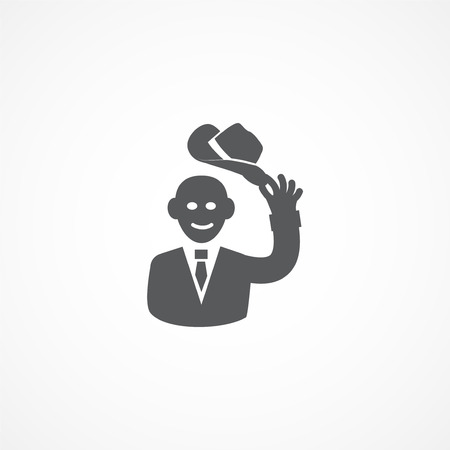 manners: Gray Courtesy icon on white background Illustration