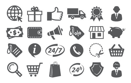 secure shopping: E-commerce and shopping icons on white Illustration