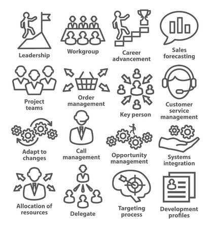 delegate: Business management icons in line style on white. Illustration