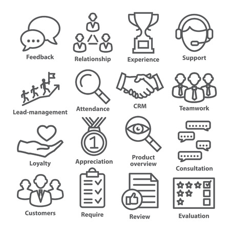 Business management icons in line style on white.
