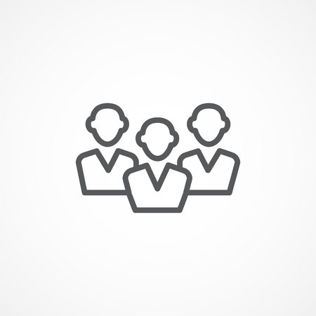 stage coach: Gray Audience line icon on white background Illustration