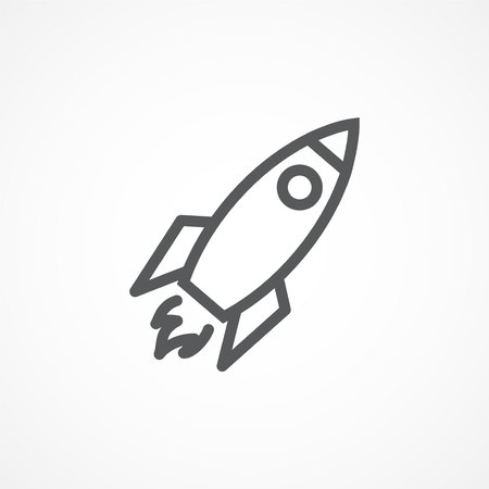 Gray Rocket line icon on white background