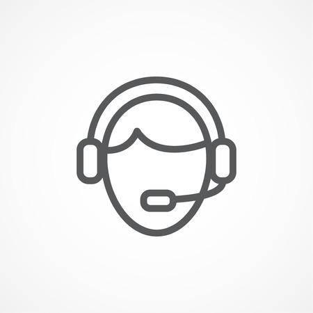 handsfree: Call center line icon on white background
