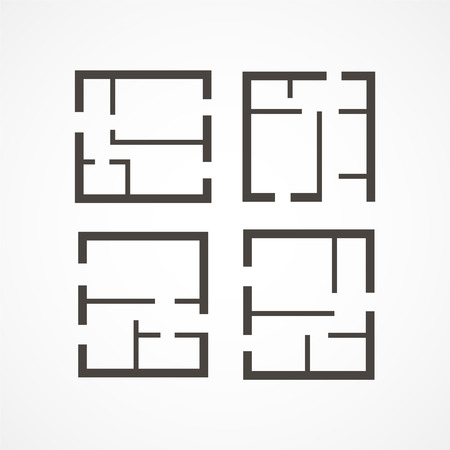 Gray Floor plan icons on white background
