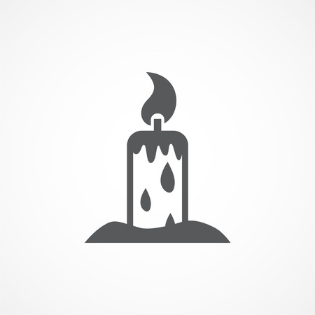 paraffin: Gray Candle vector icon on white background Illustration