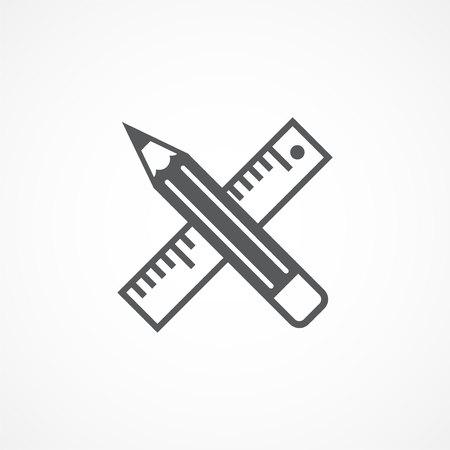 Icona di strumenti di progettazione grigio su sfondo bianco