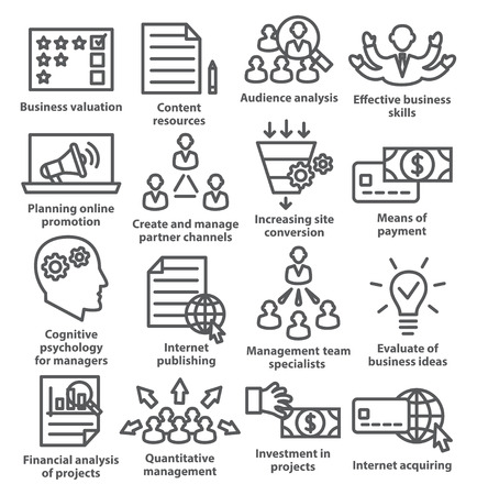 aggregation: Business management icons in line style on white. Pack 09. Illustration