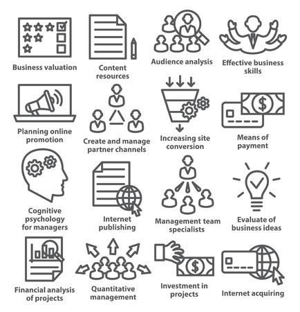 Iconos de gestión empresarial en estilo de línea en blanco. Paquete 09.