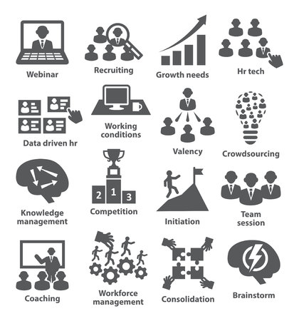 adequacy: Business management icons on white. Pack 30.