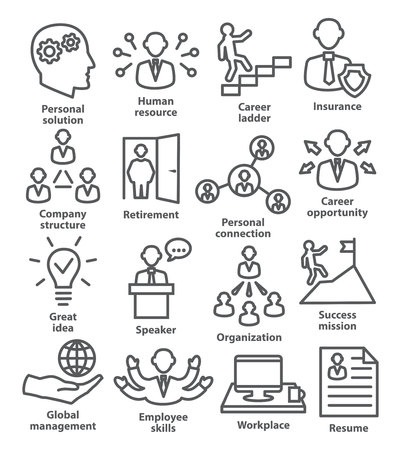 icons business: Business people management icons in line style on white background