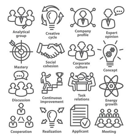 pictogrammen bedrijfsvoering in lijn stijl op wit. Pakket 14. Vector Illustratie