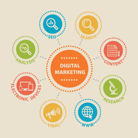 digital marketing: DIGITAL MARKETING Concept with icons Stock Photo
