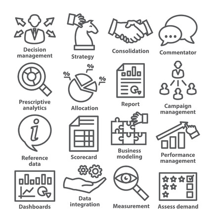 intervention: Business management icons in line style. Pack 18. Illustration