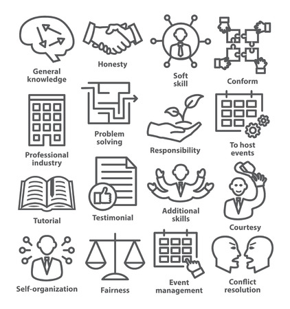 communication capability: Business management icons in line style. Pack 22.