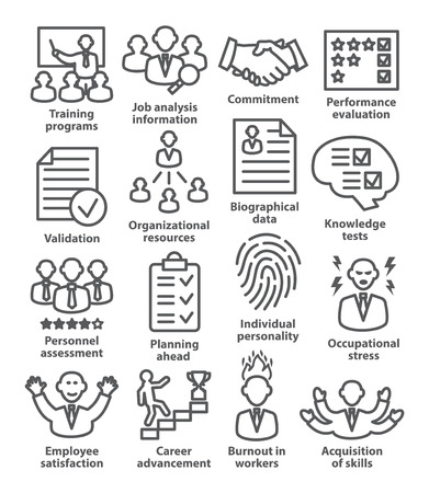 persuasiveness: Business management icons in line style. Pack 23.