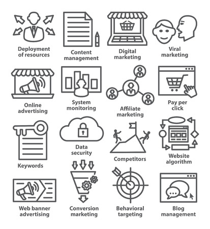 on the comprehension: Business management icons in line style. Pack 24.