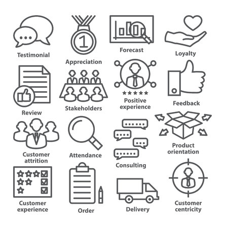 stakeholders: Business management icons in line style. Pack 26.