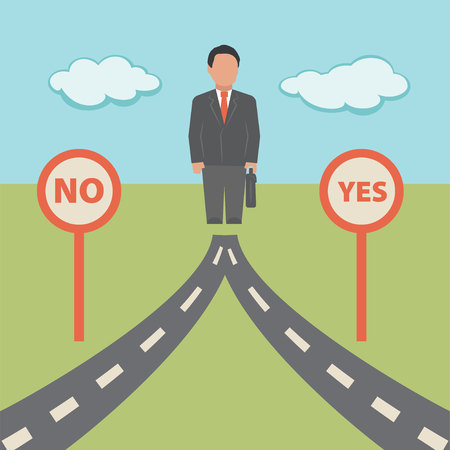 No Yes solution. Concept business illustration Illustration