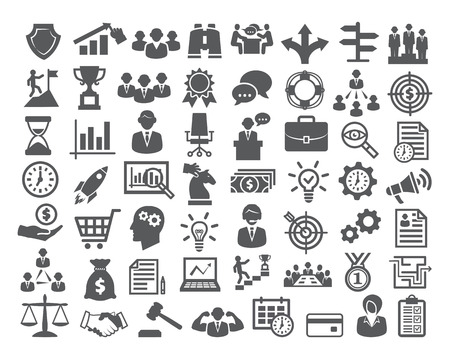 career management: Business icons set. Icons for business, management, career, finance, strategy, banking, marketing Stock Photo