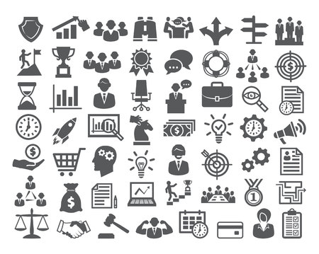 set: Business icons set. Icons for business, management, career, finance, strategy, banking, marketing Stock Photo