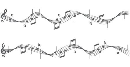 crotchets: Music notes on staves.