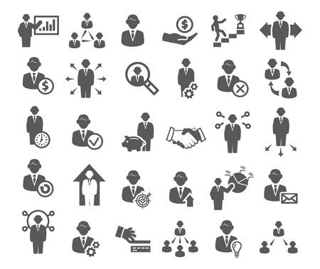 Iconos de negocios establecidos. Gestión, finanzas y marketing