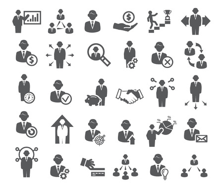 Business icons set. Management, finance and marketing